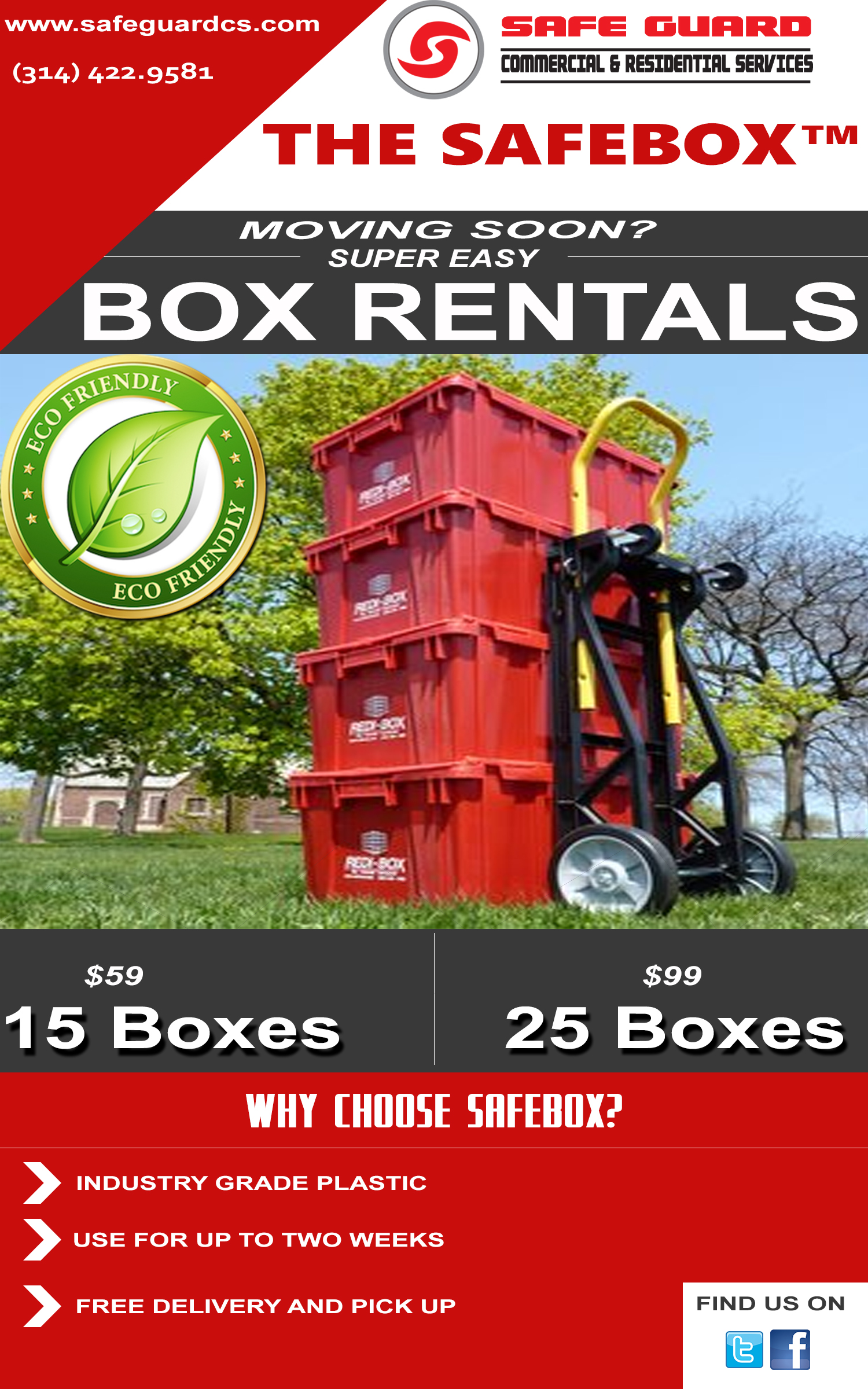 """RENT A  """"SAFE-BOX"""" today from Safe Guard Commercial Services for your Commercial and Residential Moving NEEDS."""